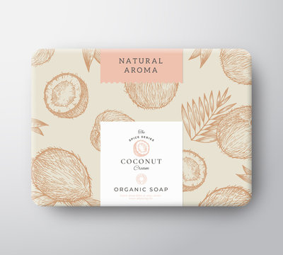Coconut Soap Cardboard Box. Abstract Vector Wrapped Paper Container with Label Cover. Packaging Design. Modern Typography and Hand Drawn Nuts and Leaves Background Pattern Layout.