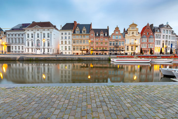 Ghent. Old houses on the city waterfront in the historic part of the city.