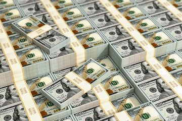 100 Dollar bills - 3D Rendering