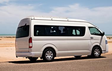 Bus traveling landscape desert