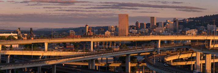 Panoramic image of the city of Portland Oregon at golden hour sunset
