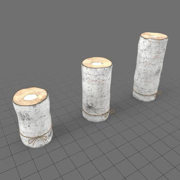 Birch log candle holders tied with twine