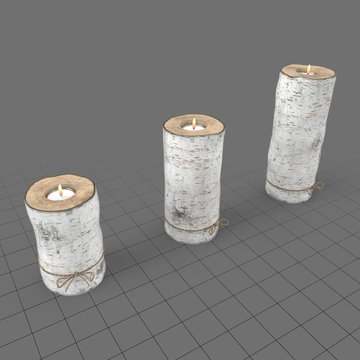 Lit candles in birch candle holders 2