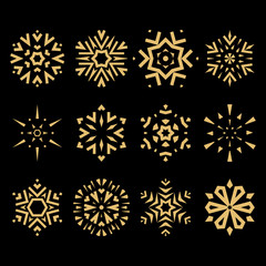 Snowflakes icon collection. Graphic modern gold and black ornament