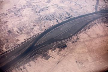 Aerial view of the Iran, Iraq border and the Shatt al-arab river near Basra, Iraq.
