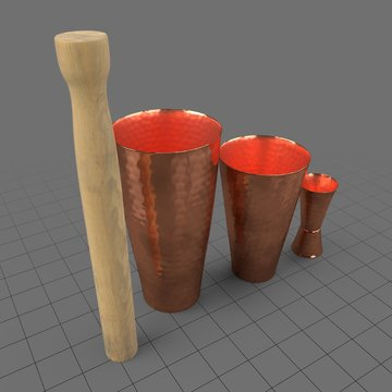 Copper cocktail shakers with muddler and jigger