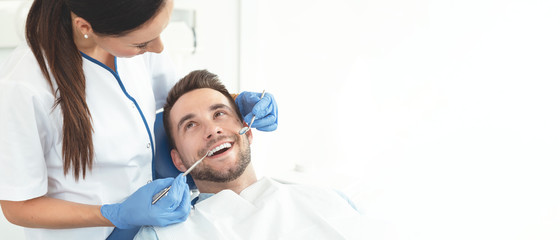 Young man at the dentist