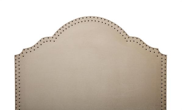 Beige soft velvet bed headboard isolated on white