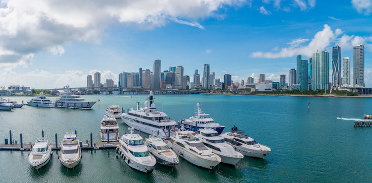Aerial view of Bay in Miami Florida, USA