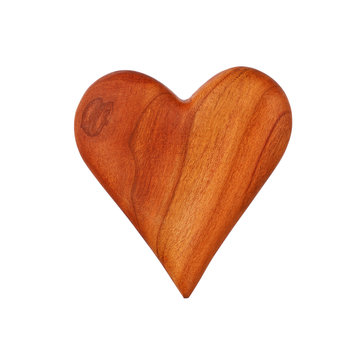 One wooden carved heart isolated on white