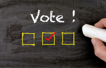 Blackboard with vote text and checkbox
