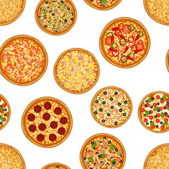 Seamless pattern pizza on white background. Pizza menu. For packaging, advertisements, menu. Vector illustration. Realistic.