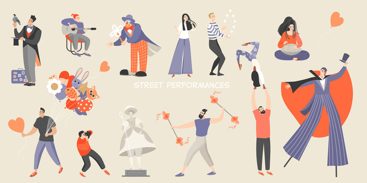 Set of vector illustrations of various street performances. Big festival of street culture and entertainment.