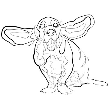 Dog one line drawing. Basset Hound Continuous line Sketch Vector