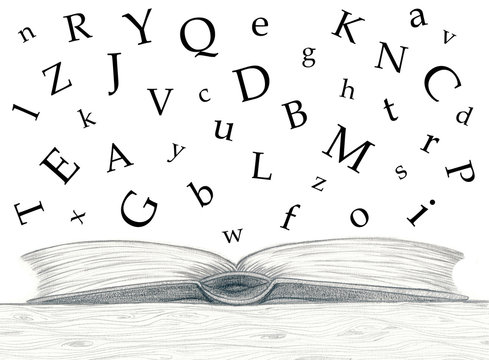 pencil sketch_open_book_alphabetic characters_white background__by jziprian