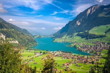 Lungern Village and Lake, Switzerland, Europe