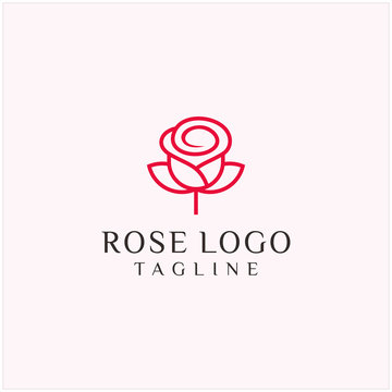 rose logo line art icon illustration vector graphic template download