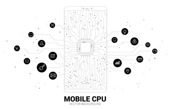 Vector CPU dot connect line circuit board style mobile phone icon. Concept for mobile phone technology and data network.