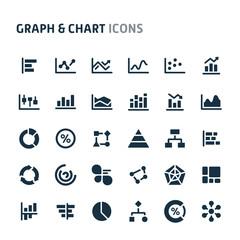Graph & Chart Vector Icon Set. Fillio Black Icon Series.