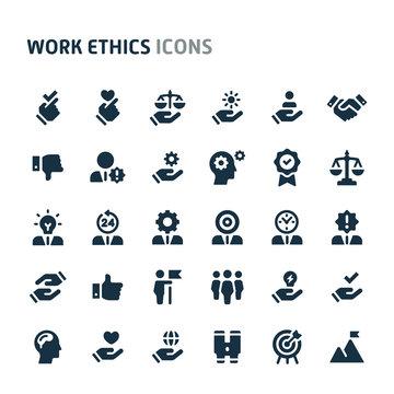 Work Ethics Vector Icon Set. Fillio Black Icon Series.