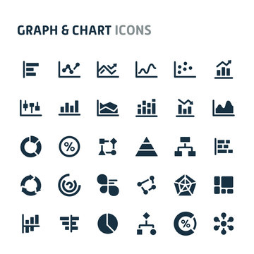 Graph & Chart Vector Icon Set. Fillio Black Icon Series.