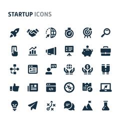 Startup Vector Icon Set. Fillio Black Icon Series.
