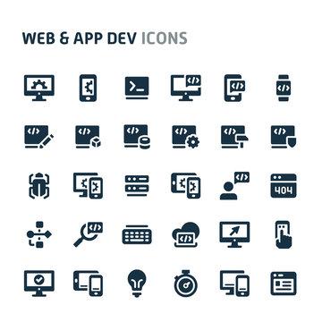 Website and Application Development Vector Icon Set. Fillio Black Icon Series.
