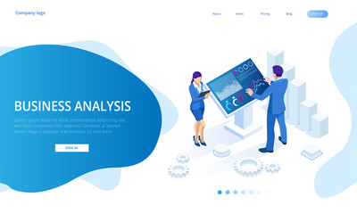 Isometric male in front of the big screen for data analysis. Statistics and business statement, Analytics dashboard, business analysis concept Wall mural