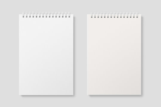 Blank realistic spiral bound notepad mockup on light grey background. High resolution.