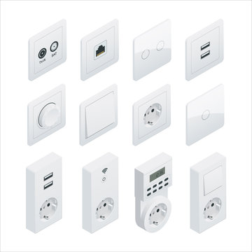 Isometric Switches and sockets set. All types. AC power sockets realistic illustration