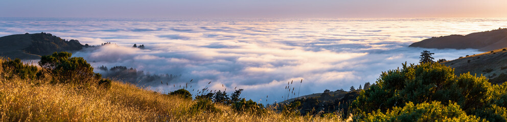 Panoramic view at sunset of valley covered in a sea of clouds in the Santa Cruz mountains, San Francisco bay area, California Fototapete