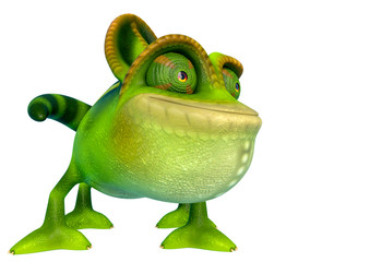 chameleon cartoon is happy in a white background side view