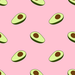 Seamless vector pattern with avocado and hearts on a pink background