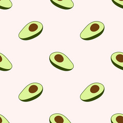 Avocado vector seamless pattern