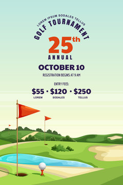 Golf tournament, poster, banner design template. Vector illustration of golf course. Summer landscape background