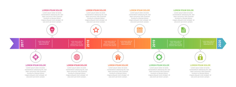 Timeline and infographic concept design, modern and colorful, with icons. Easy to customize template. EPS 10.