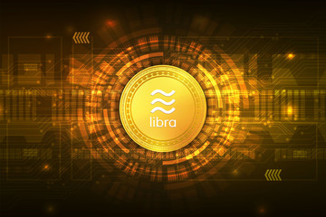 Libra cryptocurrency digital currency  with circuit abstract vector background for technology business and online marketing concept