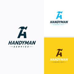 Handyman services Logo vector design, Letter-A Hammer Logo
