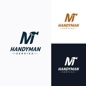 Handyman services Logo vector design, Letter M Hammer Logo