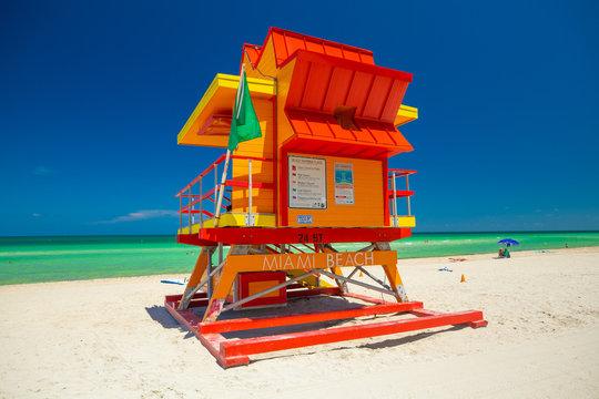 Lifeguard tower. Miami Beach. South Beach. Florida. USA.