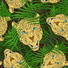 Leopard heads in the grass