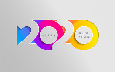 Happy 2020 new year insta colour banner in paper style for your seasonal holidays flyers, greetings and invitations, christmas themed congratulations and cards. Vector illustration.