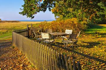 Ummanz Freesenort in Deutschland im Herbst - Freesenort on island Ummanz in Germany