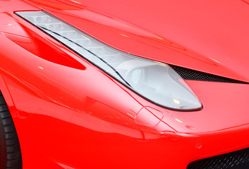 Wall Mural - Close up detail on one of the LED headlights super car.