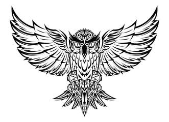 Vector hand drawn flying owl tattoo.