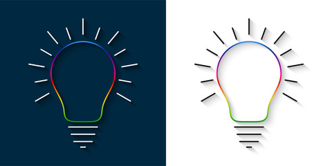 Set of bright multicolor light bulb thin line icons with rays and shadow. Idea and creativity symbols.