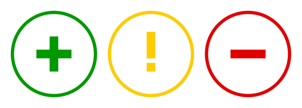 Set of round plus sign, exclamation point, minus sign icons, buttons on white background.