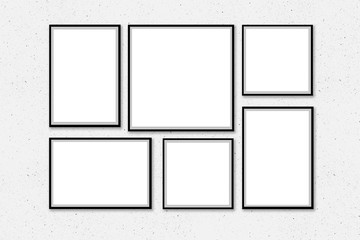 Empty frames on the wall, Photo frames template mock-up, 3D, Blank frames on white wall