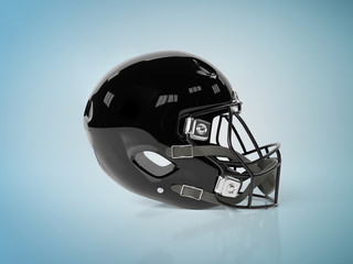 Black American football helmet isolated on blue mockup 3D rendering
