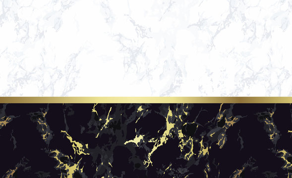 Black and white marble background with gold